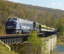 The Potomac Eagle Scenic Railroad crosses the South Branch of the Potomac River